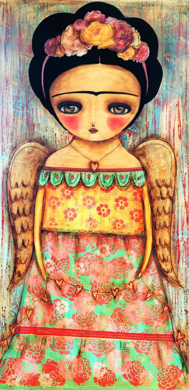 Frida Wings to Fly  - Giclee Reproduction from Original Mixed Media Collage Painting By Danita Art - (5x10 INCHES)