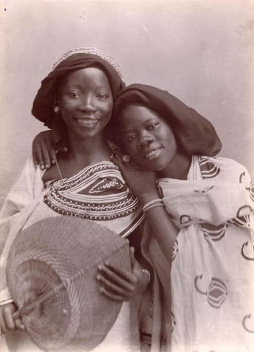 Vintage portrait of two of East African girls, circa 1860-1960