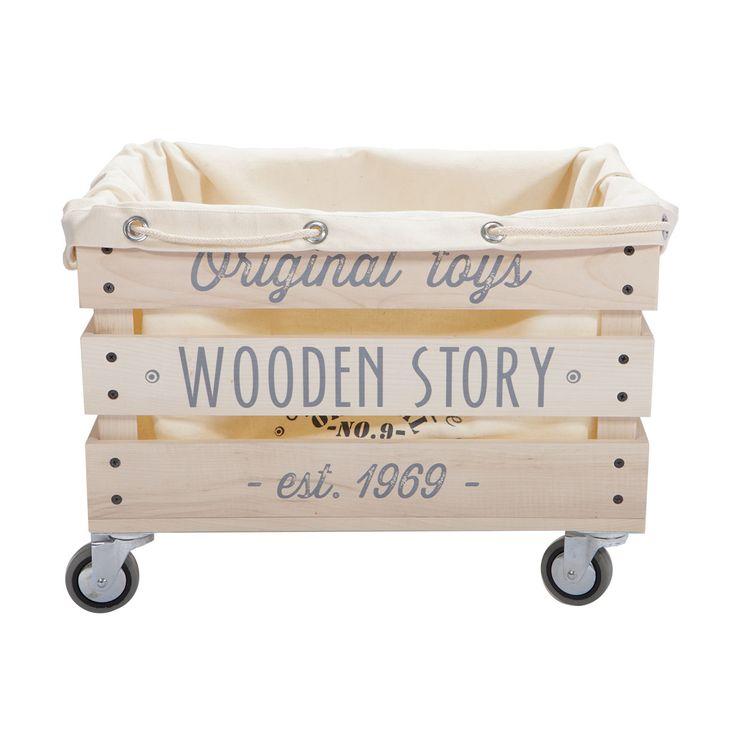 Articolo: WS47Carrello contenitore in legno naturale con ruote, adatto per il riordino dei giocattoli.