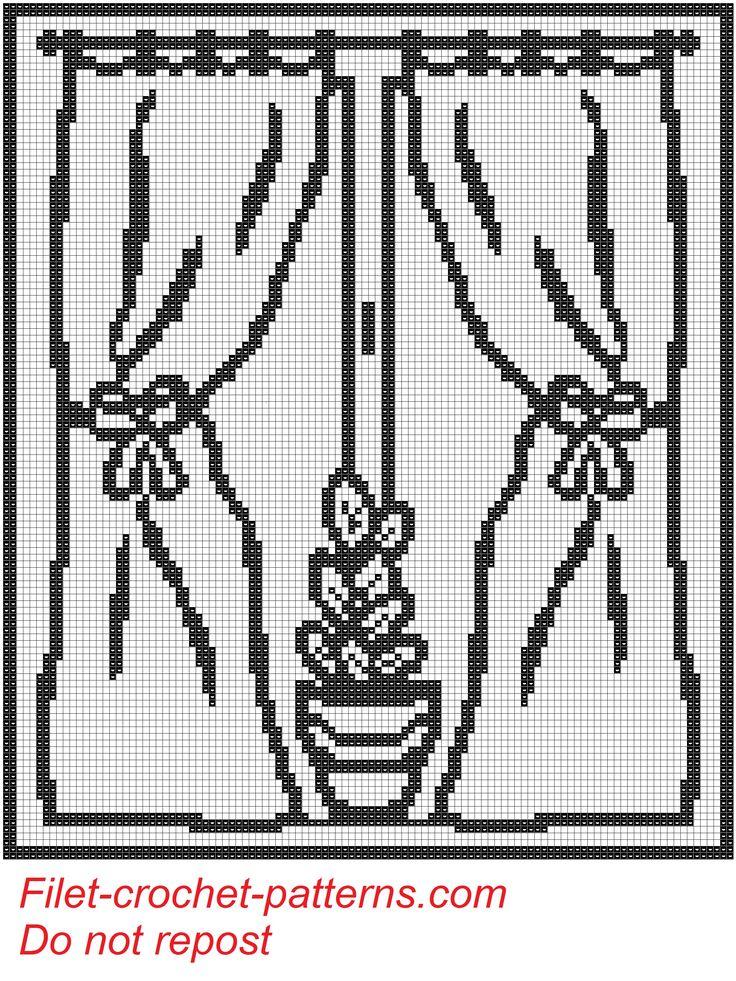 Curtain pot on window filet crochet pattern