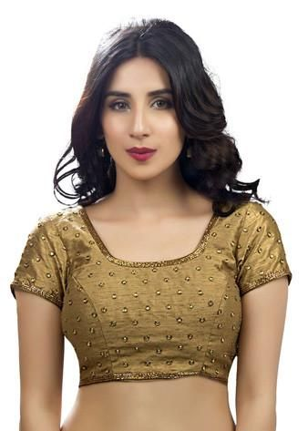 dc960159a0b991 Buy Vamas Copper Dupion Silk Back Open Blouse from Shopbollywear.com
