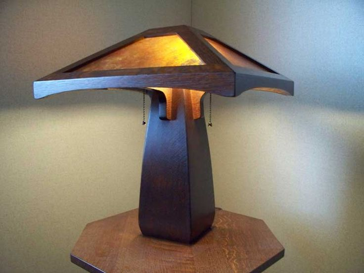 Greene And Greene Arts And Crafts Style Hand Crafted Table Lamps With Hand  Crafted Art Glass