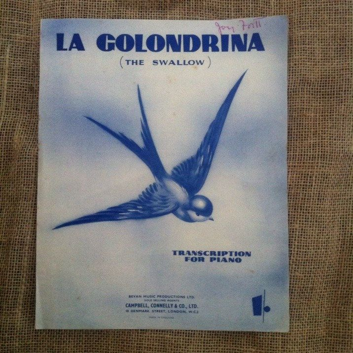 Vintage Sheet Music. La Golondrina (The Swallow). Transcription for Piano 1948. By Narciso Serradell. Arranged by Harry J Stafford.