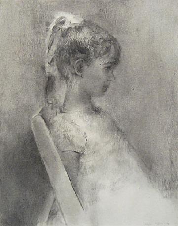 "Carmen Laffón, (Sevilla, España, 1934), pintora y escultora figurativa. ""Niña sentada de perfil""."