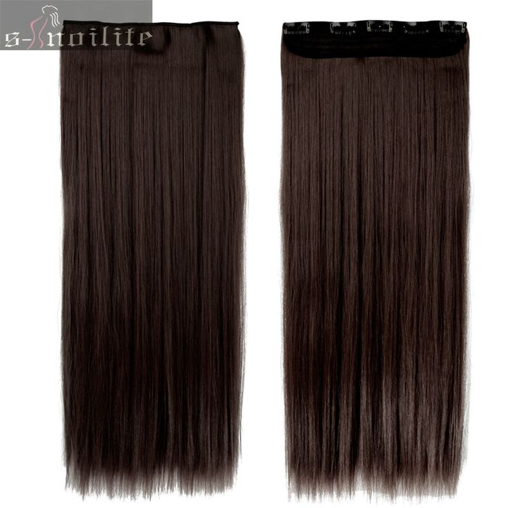 #2 Dark Brown Women Hair Extensions Straight 58cm Long High Tempreture Synthetic Woman Hair Extension Synthetic Hairpiece