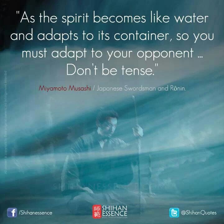"""""""As the spirit becomes like water and adapts to its container, so you must adapt to your opponent. Don't be tense."""" - Miyamoto Musashi"""