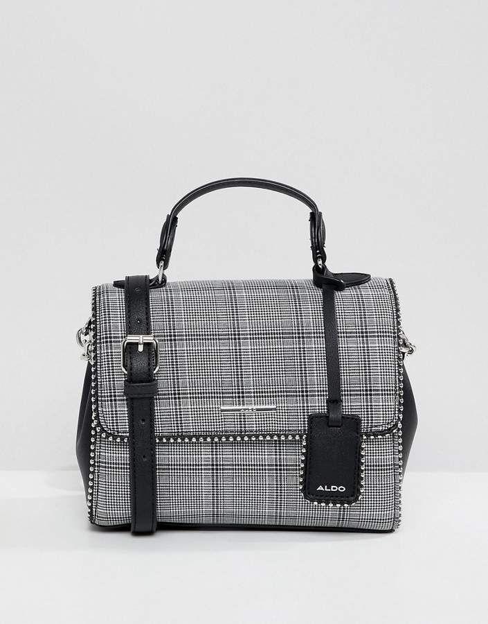 f1c2db57c11 ALDO Cading Gray Plaid Mini Tote Bag With Studding Detail