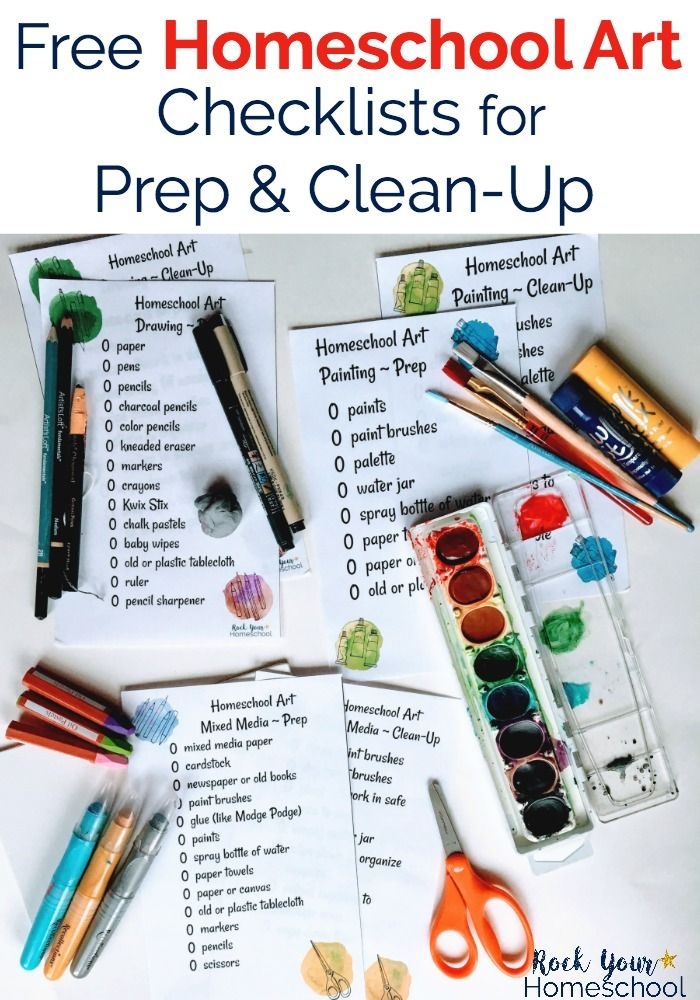 These free printable homeschool art classes checklists make homeschool art time easy. Great resources to help your kids learn how to take care of their art supplies & build good habits. #homeschoolart