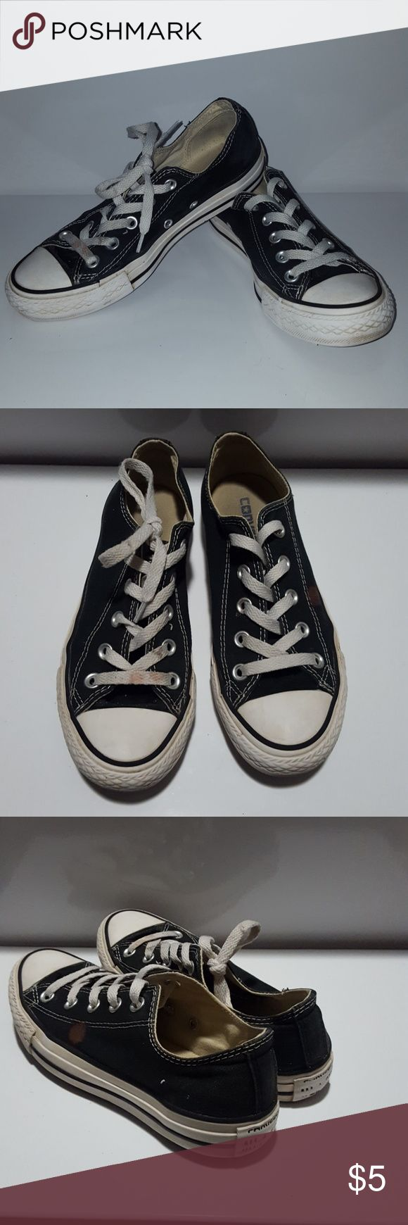 grungy black and white Converse grungy Black and white Converse. use, broken in and still really good condition.bleach spot Converse Shoes Sneakers