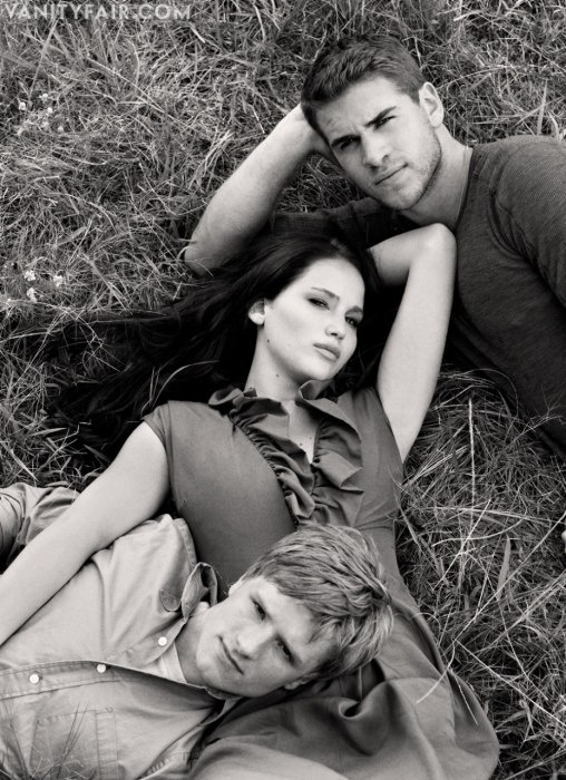 Jennifer Lawrence, Josh Hutcherson, and Liam Hemsworth.