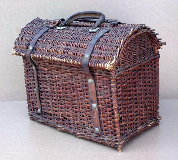 Ancien PANIER BRESSAN en osier ou rotin déco campagne rustique old wicker basket