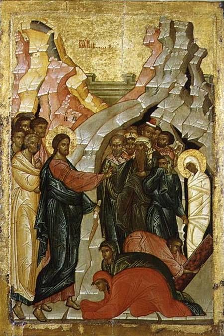 Image:  Novgorod School - The Raising of Lazarus, Russian icon