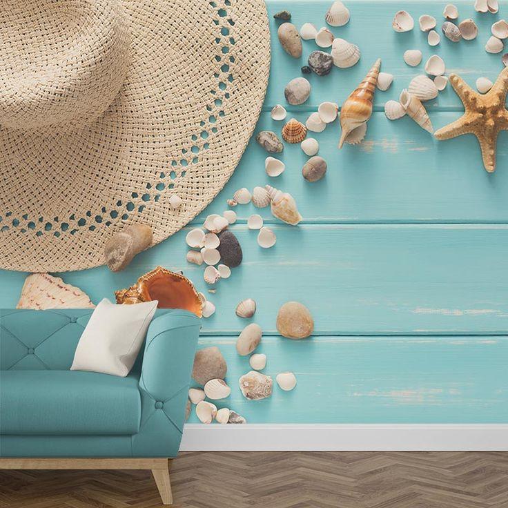 Fotobehang Summer vibes  Een gezellig, kleurrijk behang in jouw kamer? Het fotobehang Summer vibes geeft de zomerse look die jij zoekt. Het fotobehang is op maat en in verschillende typen behang verkrijgbaar. #zomer #zomers #summer #meisjes #meisjeskamer #tiener #tienerkamer #schelpen #vakantiegevoel #zomergevoel #fotobehang #behang #zelfklevend #vliesbehang #behangen #diy