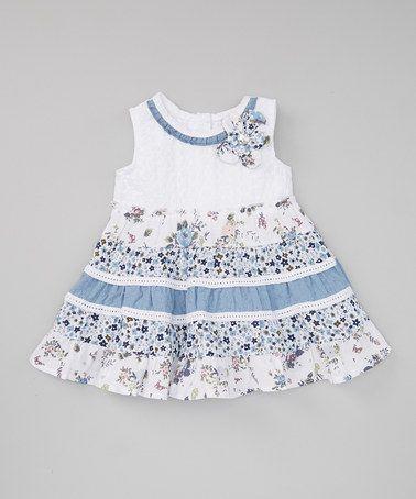 Another great find on #zulily! Blue & White Flower Dress - Girls #zulilyfinds
