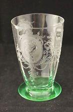 Rare 1922-31 Depression Tiffin Glass PSYCHE Green Vaseline Water Tumbler