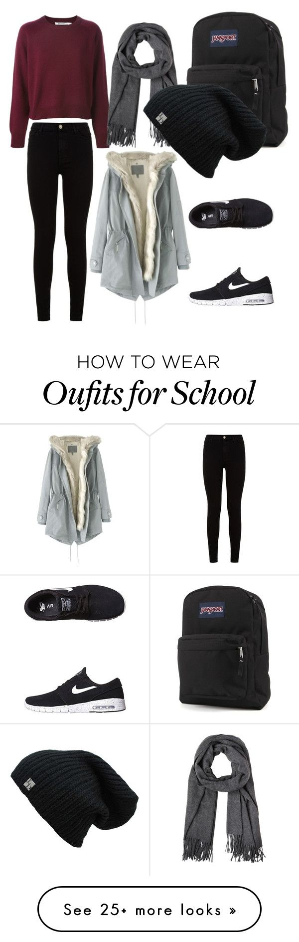 """""""school"""" by atierusyda on Polyvore featuring moda, 7 For All Mankind, NIKE, JanSport i Wrap"""