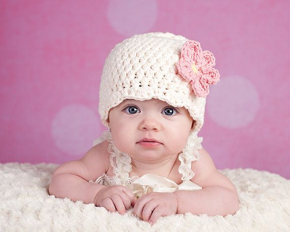 0cc901e1 Baby Girl Hat Crocht Flower Flapper Beanie Newborn Hospital Hat Photo Shoot  Photography Prop Toddler Girl Women's Sizes Cream and Pink