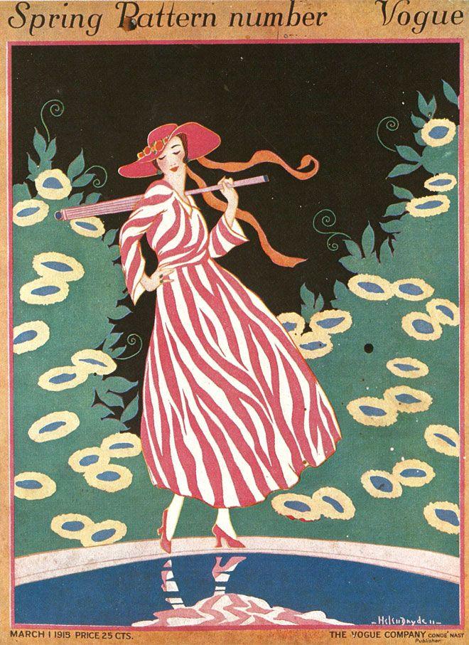 Vogue cover --- March 1, 1915 by Helen Dryden #vintageillustration #fashionillustration