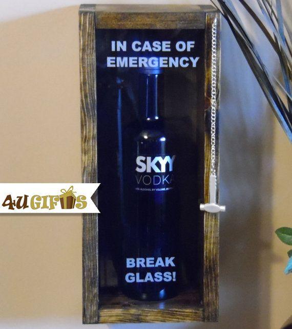 In Case of Emergency Break Glass, Liquor Drinkers Gift, Sky Vodka or Similar Size Liquor Bottle, Man Cave Decor, Funny Gift, Unique Gift