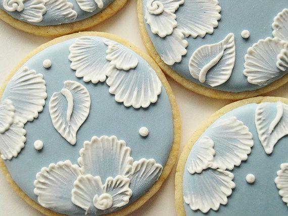Brush Embroidered Cookies Set of 8 Orange Vanilla by SweetAmbs, $58.00