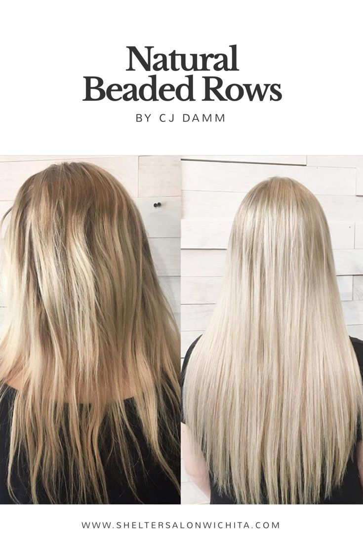 | BEFORE & AFTER | Natural Beaded Rows Extensions by CJ Damm | Shelter Salon |Wichita, KS | Click on our website to set up your consultation |www.sheltersalonwichita.com
