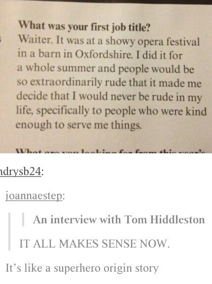I knew it was gonna be tom hiddleston before I got to the bottom