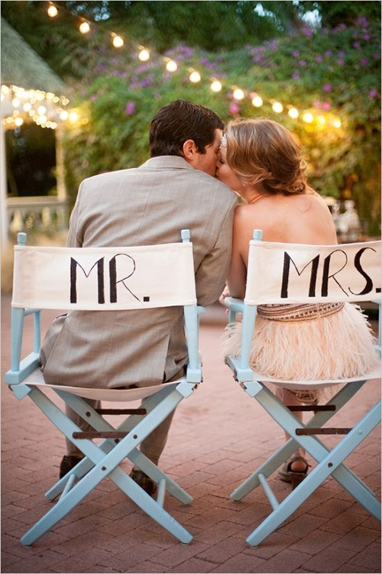 mr and mrs directors chairs #roaring20wedding #mrandmrssigns #weddingchicks http://www.weddingchicks.com/2014/01/02/easy-roaring-20s-wedding-ideas/