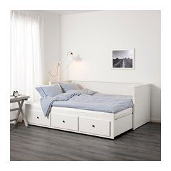 IKEA - HEMNES, Daybed with 3 drawers/2 mattresses, white/Meistervik firm, , Four functions - sofa, single bed, double bed and storage solution.You will get all-over support and comfort with the resilient foam mattress.The mattress is approved for seating, as the zipper is placed on the bottom.