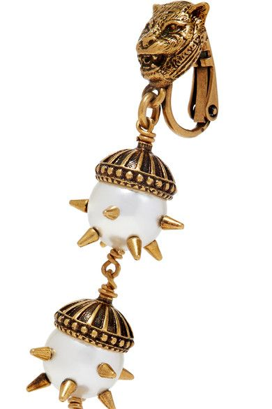 Gucci - Gold-plated Faux Pearl Clip Earrings - one size