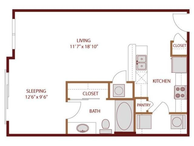 569 sq ft studio apartment layout i like the galley for Galley kitchen floor plans