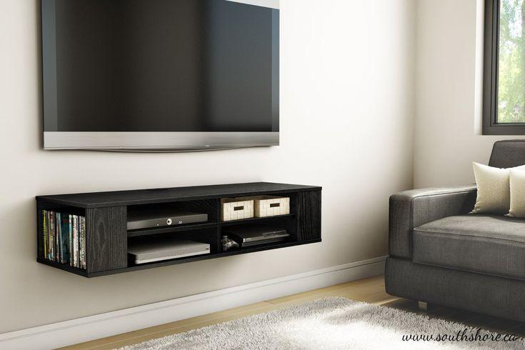 Amazon.com - South Shore City Life Wall Mounted Media Console Shelf, Black Oak - Audio Video Component Shelves