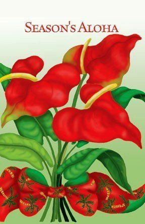 Hawaiian Christmas Cards Box Of 10 Anthurium Bouquet By BKL. $6.29. Inside  Message: