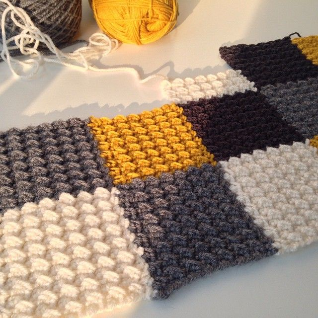 """A new blog post about the """"Dijon"""" blanket, with all the info on stitches, pattern, joining the squares as you go, etc. Have fun!"""