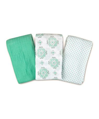 White & Green Polka Dot SwaddleMe Muslin Blanket Set #zulily #zulilyfinds