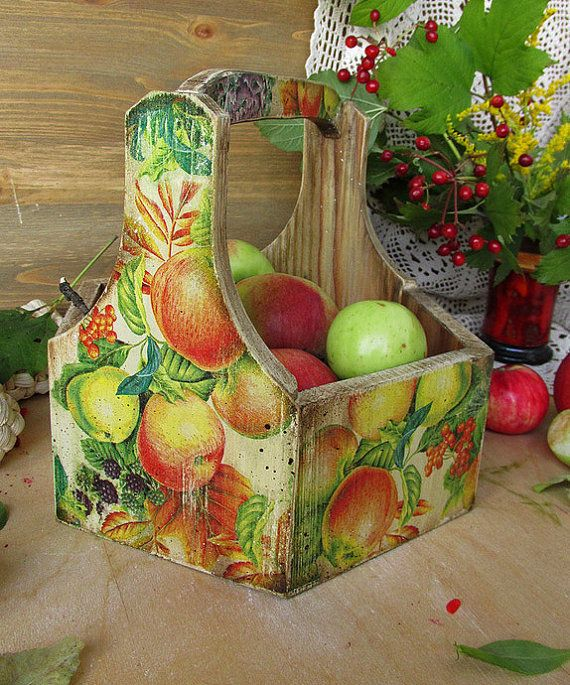 Storage Box Apples, Box for Candy, Wooden Basket Storage от DecoDvorik