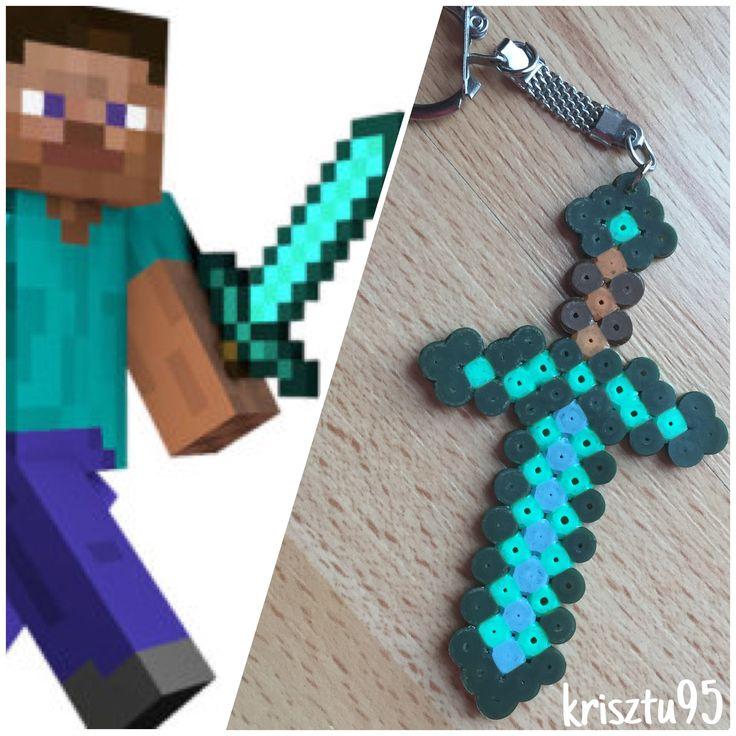 Hama beads minecraft keychain