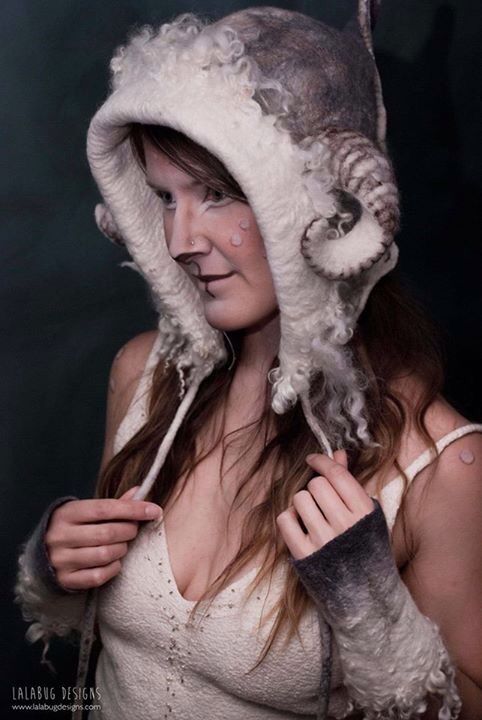 Hood, horns, gloves and dress felted by Lalabug Designs
