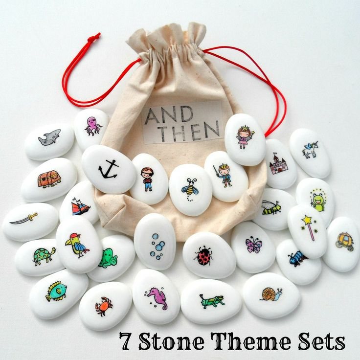 STORY STONES $15.00   Story Stones are brilliant for developing oral language and thinking skills and fostering creativity and imaginative play.  They can be used for solitary play, or in a group/class setting. Story stones provide a range of prompts for children to assist stimulating ideas, and put a story together, from the basic to the beautifully elaborate!