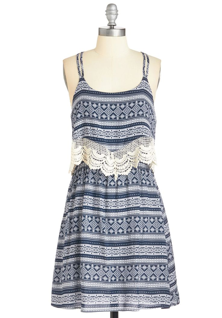 Secret Set Dress. While wandering around the fest in this printed dress, youre enchanted to hear your fave band jamming - unplanned! #blue #modcloth