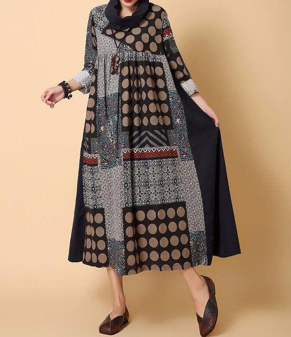 Spring Loose High collar dress Long dress women Cotton and linen long sleeved long dress