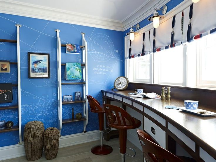 nautical theme home office beach style with roman shades silver curtain rods