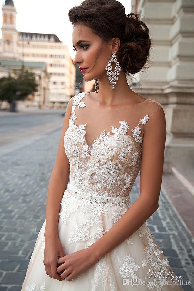 Stunning 2016 Milla Nova Princess Wedding Dresses A Line Sheer Neck Illusion Back Lace Appliques Bead Court Train Tulle Vintage Bridal Gown