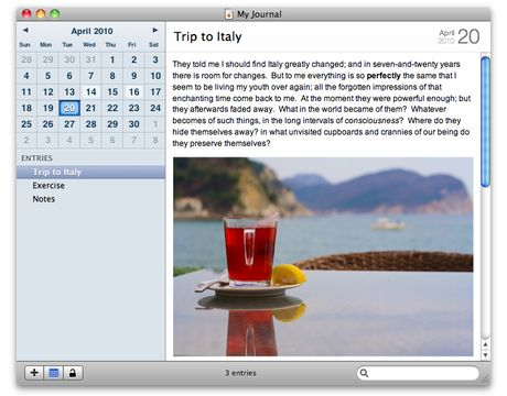 Memoires Journaling App for Mac. Really simple way to organize thoughts, even has a calendar setting.