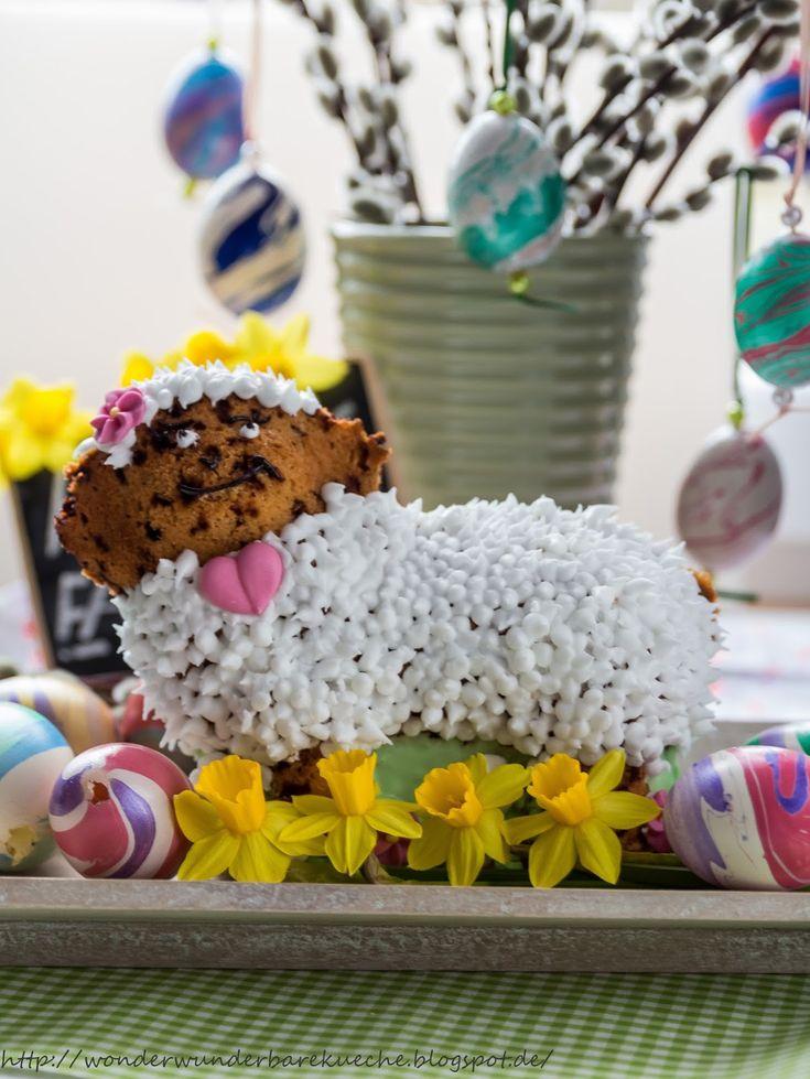 Wonder Wunderbare - Küche: Ostern: Lotta das Osterlamm - Stracciatella-Eierlikör-Kuchen #ichbacksmir #ostern #osterkuchen #easter