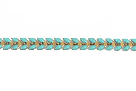 13 feet 4.33 yards Turquoise Chevron Chain brass 6mm by SmartParts