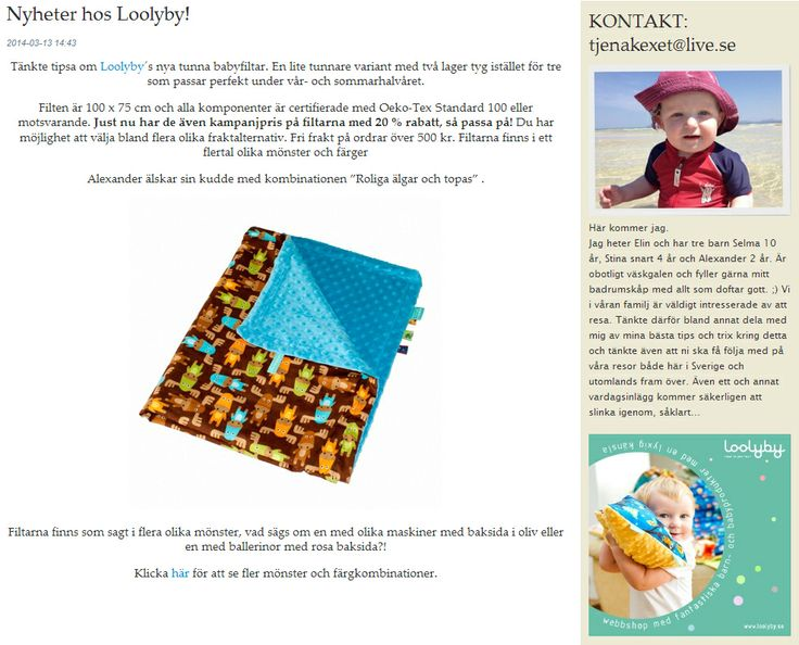 News about Loolyby on one of the most popular Swedish family blogs: http://blogg.loppi.se/finastina/2014/03/13/nyheter-hos-loolyby/