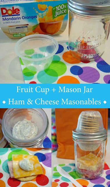 he empty fruit cups fit on top of a wide mouth mason jar. Pack your crackers on top of tuna, chicken, egg salad or some meat and cheese slices.