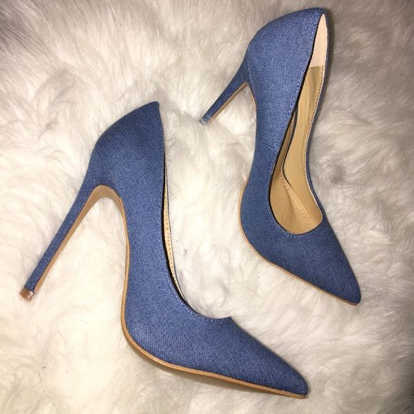"""Sexy Denim Heels in Size 7 Brand new in box sexy denim heels in size 7. Heel measures 4"""" inches. Perfect shoe that matches everything! Shoes Heels"""