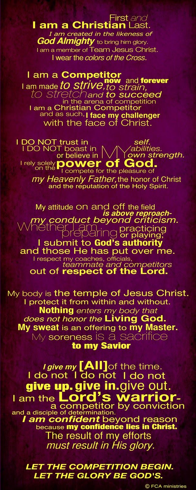 The Competitors creed from FCA(fellowship of christian athletes)