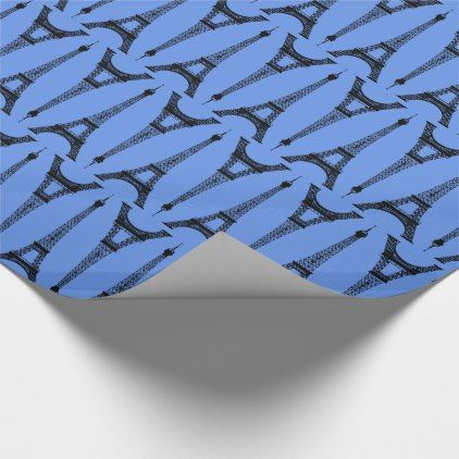 Six Inch Black Eiffel Towers on Cornflower Blue Wrapping Paper - antique gifts stylish cool diy custom